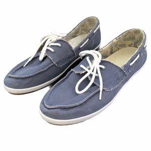 Sanuk Women's Sailaway Fray boat shoes blue 8